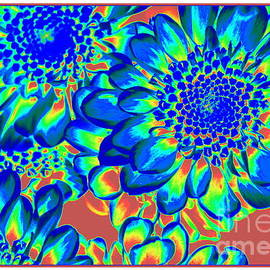 Blue Fantasy - Dahlias Pop Art  by Dora Sofia Caputo