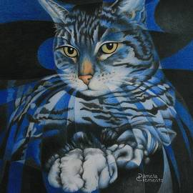 Blue Feline Geometry by Pamela Clements