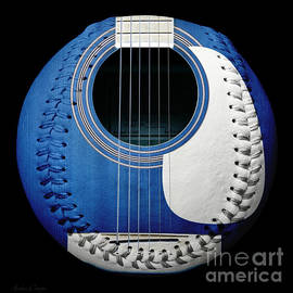Blue Guitar Baseball White Laces Square by Andee Design