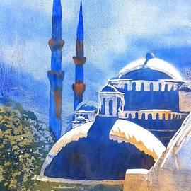 Blue Mosque In Blues by Carlin Blahnik CarlinArtWatercolor