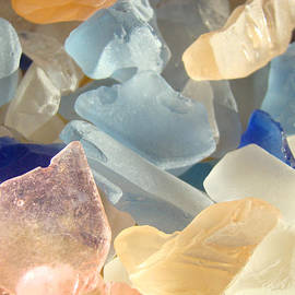 Baslee Troutman - Blue Pink Orange Seaglass Beach Garden