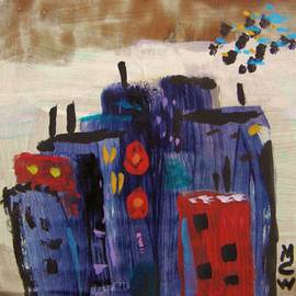 Mary Carol Williams - Blue Red Cityscape