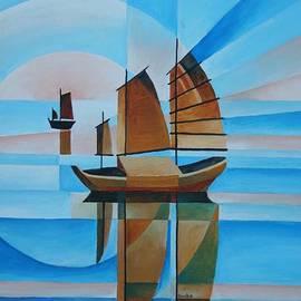 Blue Skies and Cerulean Seas by Taiche Acrylic Art