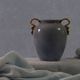 Sandra Foster - Blue Vase And Damask