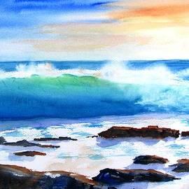 Blue Water Wave Crashing On Rocks by Carlin Blahnik CarlinArtWatercolor