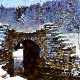 Blue Winter Stone Bridge