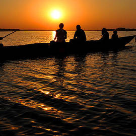 Diane Lent - Boat in sunset on Chilika Lake India
