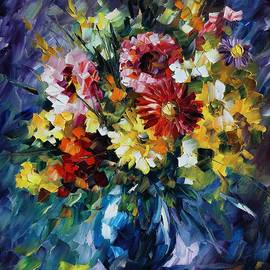 Leonid Afremov - Bouquet of Love - Palette Knife Oil Painting On Canvas By Leonid Afremov