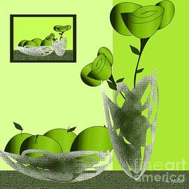 Fruit and Flowers in green by Iris Gelbart