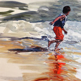Boy Chases Waves On Beach by Christine Montague
