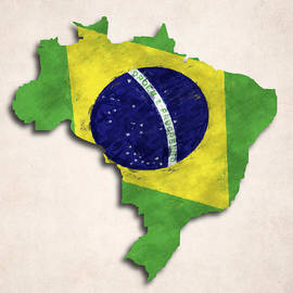 World Art Prints And Designs - Brazil Map Art with Flag Design