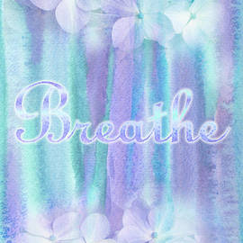 Breathe Refreshing Hydrangea Turquoise Purple Watercolor by Beverly Claire Kaiya