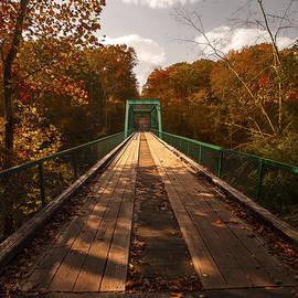 Jerry Cowart - Wooden Bridge Adventure To Autumn Red Orange Yellow Leaves