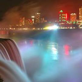 Bright Lights At Niagara Falls Panorama by Adam Jewell