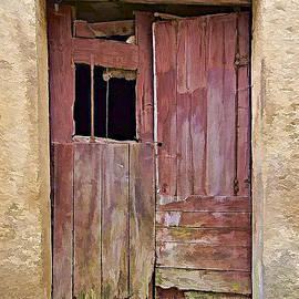 Broken Red Wood Door by David Letts