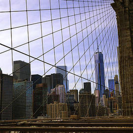Scene Through The Brooklyn Bridge  by Madeline Ellis
