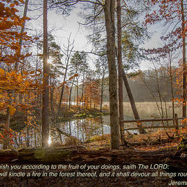 Brown County State Park Nashville Indiana Biblical Verse Ogle Lake Jeremiah  by David Haskett II