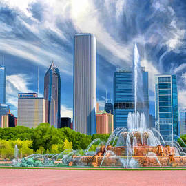 Buckingham Fountain Chicago Skyscrapers by Christopher Arndt