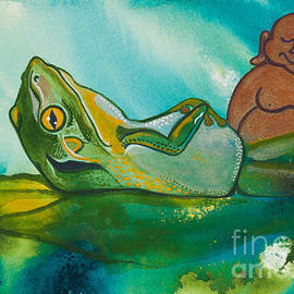 Buddha and the Divine Bathing Frog No. 2101 by Ilisa Millermoon
