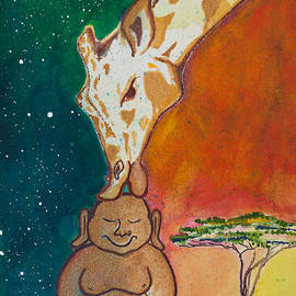 Buddha and the Divine Giraffe No. 2088 by Ilisa Millermoon