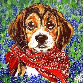 Buddy Dog Beagle Puppy Western Wildflowers Basset Hound  by Jackie Carpenter