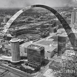 Thomas Woolworth - Busch Stadium BW A View From The Arch Merged Image
