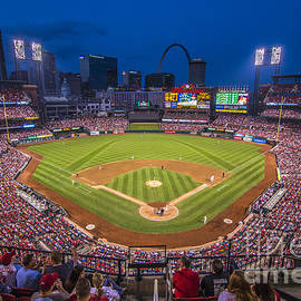 Busch Stadium St. Louis Cardinals Night Game by David Haskett II