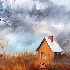 Cabin with Fence by Teresa Ascone