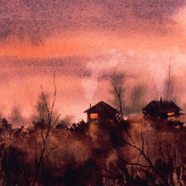 Cabins at Twilight by Teresa Ascone
