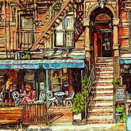 Cafe Mogador Moroccan Mediterranean Cuisine New York Paintings East Village Storefronts Street Scene by Carole Spandau