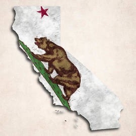 World Art Prints And Designs - California Map Art with Flag Design