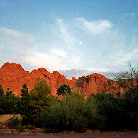 Camelback Mountain and Moon by Connie Fox