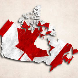 World Art Prints And Designs - Canada Map Art with Flag Design
