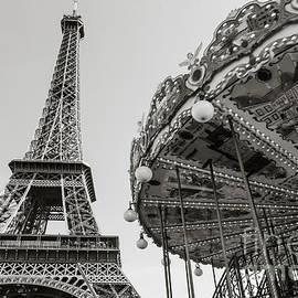 Carrousel de la Tour Eiffel- Black and White  by Rhonda Krause