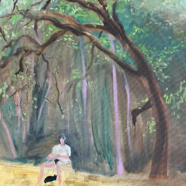 Cat and Reading Man Under a Bay Tree by Asha Carolyn Young