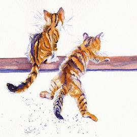 Cat-astrophe - two naughty kittens by Debra Hall