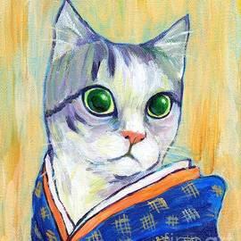 cat in kimono of Ukiyoe style by Jingfen Hwu