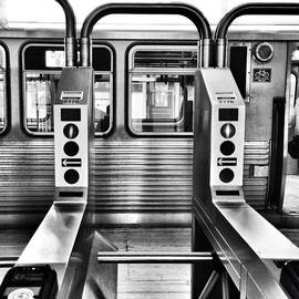 Chicago L Train Gate In Black And White