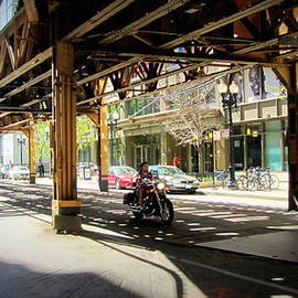 Chicago Motorcycle Under The L Track by Anita Burgermeister