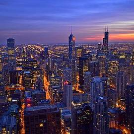 Chicago Skyline at Dusk from John Hancock Signature Lounge by Jeff at JSJ Photography