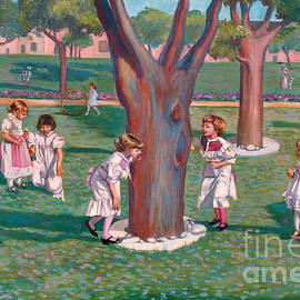 Children Playing Around A Tree by Dominique Amendola