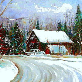 Christmas Trees Cozy Country Cabin Painting Winter Scene Quebec Painting Canadian Art Cspandau by Carole Spandau