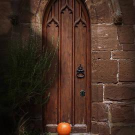 Church Door At Halloween by Amanda Elwell