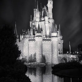 Cinderella's Castle Reflection Black And White by Adam Romanowicz