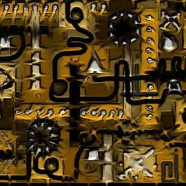 Circuit Board Abstract In Yellow by Barbara St Jean