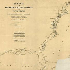 MotionAge Designs - Civil War Map of U S Coasts 1862