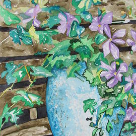 Clematis in a Speckled Flower Pot by Esther Newman-Cohen