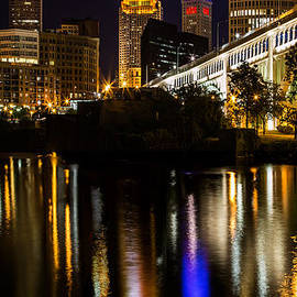 Cleveland At Night V Panoramic by Dale Kincaid