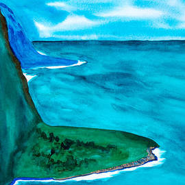 Frank Bright - Cliffs Of Hawaii Watercolor