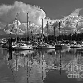 Clouds over French Creek Harbour in Monochrome by Inge Riis McDonald